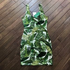 Fitted Stretch Tropical Botanical Palm Dre…